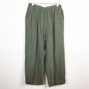 Flax | Olive Green High Rise Lagenlook Linen Pants